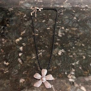 Silpada rope cord & silver flower necklace